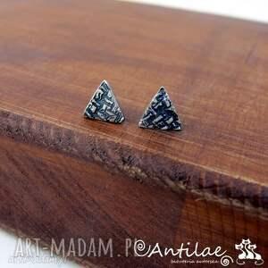 Kolczyki wkrętki, geometryczne kolczyki, kolczyki trójkąty, srebrne sztyfty,