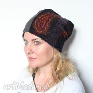 czapka damska patchworkowa orientalna - czapka, wełna, prezent, mama, sport, narty
