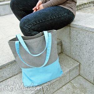 handmade na ramię shopper bag duo- szarość i błękit