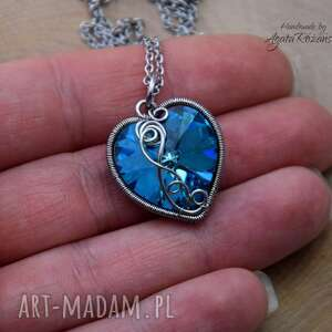 wisiorek serce swarovski bermuda blue, wire wrapping, stal chirurgiczna