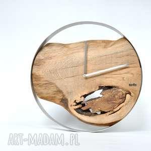 Zegar loft - dębowy duży w stalowej obręczy 40cm zegary oldtree