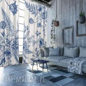 komplet bawełnianych zasłon flower blue, zasłony, kwiaty, zaciemniające, firanki