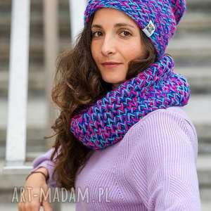 explorer skarby lasu - fioletowa, niebieska czapka, zimowa, wełniana ciepła