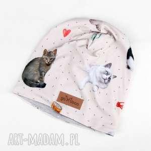 Czapka z kotem dla miłośnika kotów , czapka, beanie, kot, kociara, czapka-z-kotem