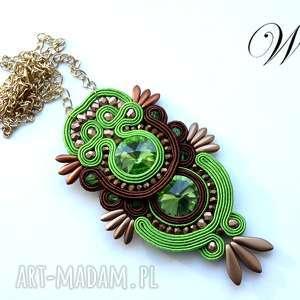 naszyjnik sutasz zielono brązowy, sutasz, naszyjnik, elegancki, modny