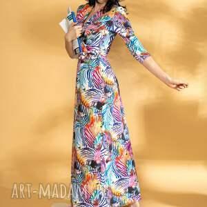 elegancka sukienka maxi zebra dzianina premium, maxi, kopertowa, print