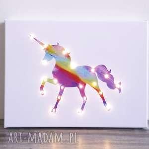 świecący jednorożec obraz led tęcza lampka prezent dla dziewczynki