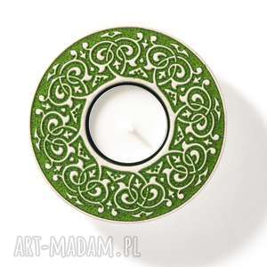 Lampion barokowy ciemnozielony ceramika pracowniazona lampion