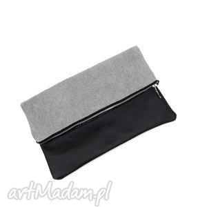 klasyczna kopertówka do ręki skóra naturalna, kopertówka, pikowana, skórzana