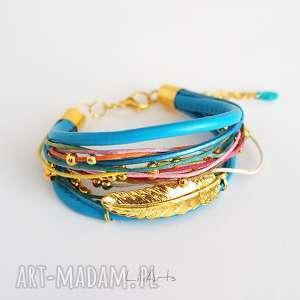 bransoletka - piórko niebieska, kolorowa, złota, bransoletka, rzemienie