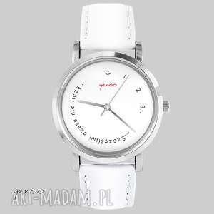 Prezent Zegarek, bransoletka - Szczęśliwi czasu nie liczą biały, skórzany, zegarek