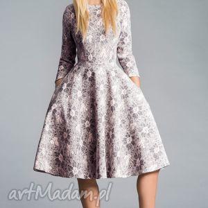 Sukienka STAR 3/4 Midi Shanon, koronka, midi, kieszenie, pudorowy, szara