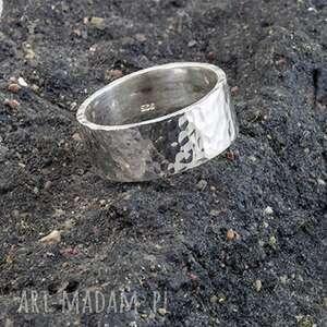 hand-made obrączki obrączka - pierścień, srebro 925, młotkowana