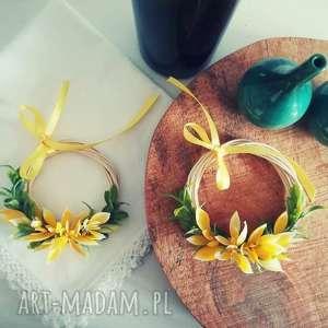 wooden love mini wianek, miniwianek, stroik, kwiat, obrus, lawenda