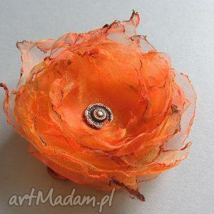 soczysta pomarańcza - broszka, organza, lekka