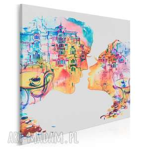 vaku dsgn obraz na płótnie - pocałunek restauracja kolorowy w kwadracie