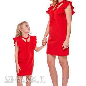mama i córka sukienka z wiązaniem dla córki ld10/2, falbany, tuba, mama