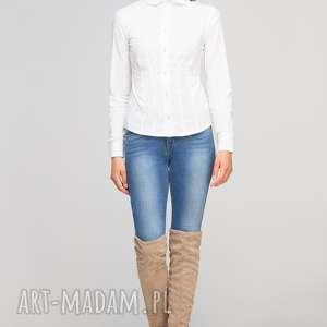 Koszula z falbankami, K105 ecru, casual, elegancka, taliowana, kołnierzyk, klasyczna,