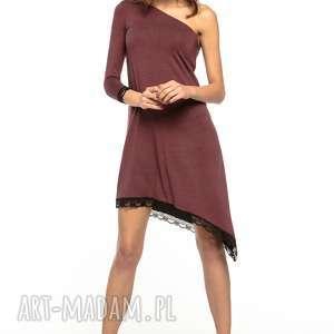 sukienka asymetryczna z odkrytym ramieniem, t269, bordo - sukienka, asymetryczna, odkryte