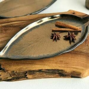 hand made ceramika liść ceramiczny - talerz ozdobny