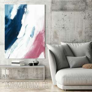canvas obraz płótno abstrakcja blue-bordo 50x70 cm, grafika plakat dekoracje