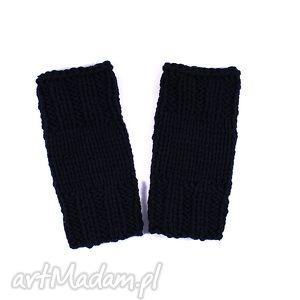 mitenki krótkie czarne, mitenki, rękawiczki, zima, ręka, dziergane