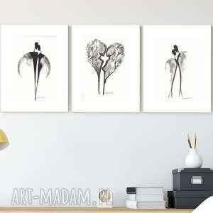 zestaw 3 grafik 21x30 cm wykonanych ręcznie, grafika czarno-biała, abstrakcja