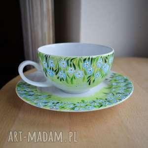 ceramika filiżanka ręcznie malowana niezapominajki 250 ml, filiżanka