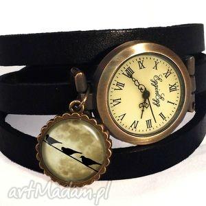 księżycowe ptaszki - zegarek bransoletka na skórzany pasku