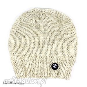 czapka przy głowie - ecru, czapka, krótka, dziergana, unisex, zima, głowa