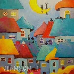 Obraz na płótnie - WESOŁE MIASTECZKO KOTÓW 40/30 cm, miasteczko, abstrakcja, akryl