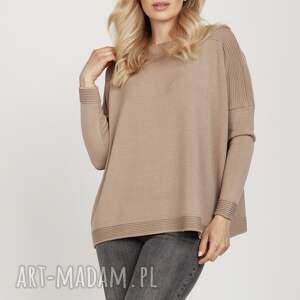 swetry dzianinowa bluza - swe222 mkm mocca, bluzka, sweter na wiosnę