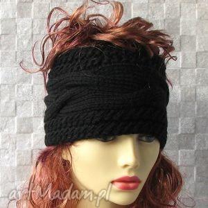 szeroka opaska - czarna, opaska, czapka, nauszniki, ocieplacz, zima, fashion