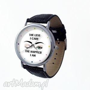 The less I care - Skórzany zegarek z dużą tarczą, zegarek, skórzany, napisem, oko