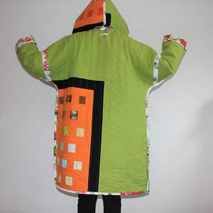 płaszcz patchworkowy długi z kapturem - waciak - płaszcz patchwork, folk boho
