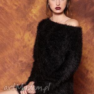 unikalny prezent, swetry czarny puszysty sweter, wlochaty, puszysty