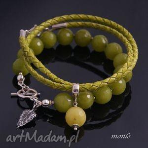 agrest bransoletka - biżuteria, rzemień jadeit
