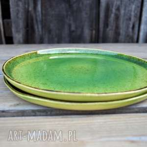 hand-made ceramika zestaw zielonych talerzy dla dwojga