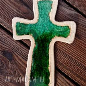 Krzyżyk na ścianę ceramika i szkło 8, krzyż, krzyżyk, ceramiczny, szkło, fusing