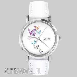 Prezent Zegarek, bransoletka - Motyle biały, skórzany, zegarek,