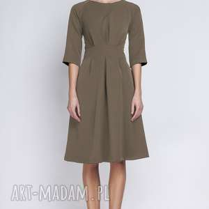 sukienki sukienka z rozkloszowanym dołem, suk122 khaki, rozkloszowana, elegancka