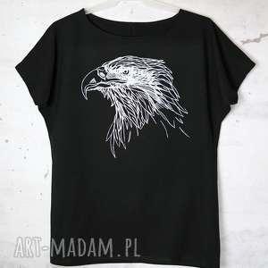 handmade koszulki orzeł koszulka bawełniana z nadrukiem s/m czarna