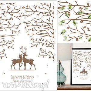 Plakat do wpisów gości - ślub, wesele las z jelonkami księgi