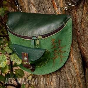 skórzana nerka odcienie zieleni las, leśna, drzewa, zielona, zielenie, skóra