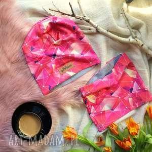 handmade czapki różowa galaktyka czapka i komin beanie