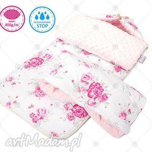 dla dziecka wodoodporny komplet śpiworek l mufka - różowe róże