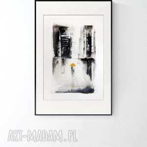 obraz ręcznie malowany 50 x 70 cm, deszczowa ulica, 2836984