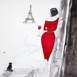 obrazy popołudnie w paryżu akwarela artystki plastyka adriany laube, eiffla, paryż