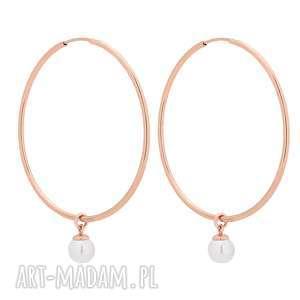 kolczyki duże koła z białymi perłami swarovski® crystal