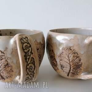 dwa kubki spacer po lesie 1, ceramika rękodzieło, kubek z gliny, ręcznie